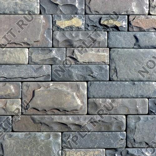"""Камень лапша """"Полоска"""" шунгит тёмно-серый (чёрный) - 50хПогон мм, со сколом, галтованный, пиленый с 5 сторон"""