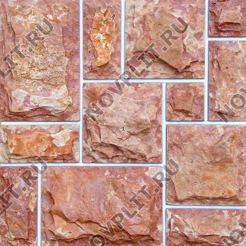Римская кладка №3 доломит малиновый с розовым - со сколом, пиленый с 5 сторон