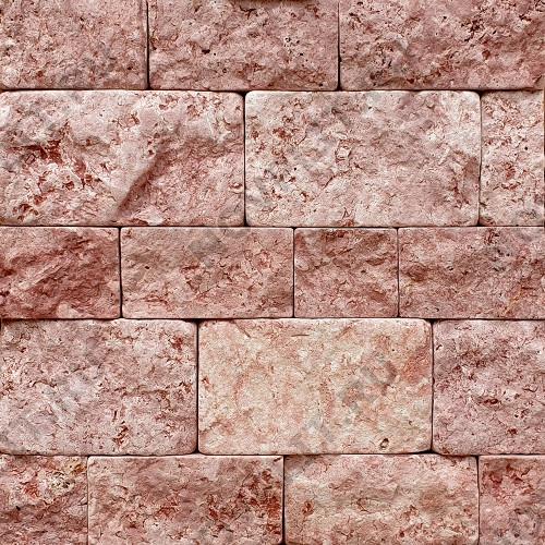 """Плитка """"Шуба состаренная"""" доломит малиновый с розовым - 100хПогон мм, шуба, галтованный, пиленый с 5 сторон"""