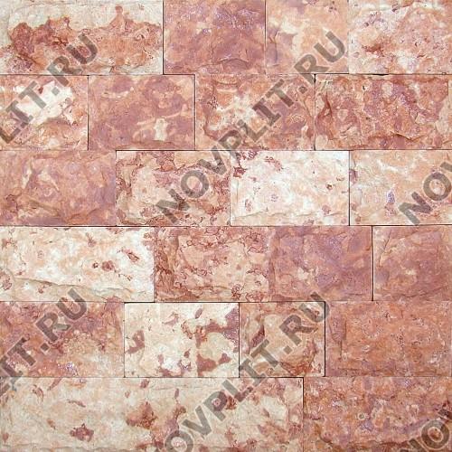 """Плитка """"Шуба"""" доломит малиновый с розовым - 150хПогон мм, шуба, пиленый с 5 сторон"""