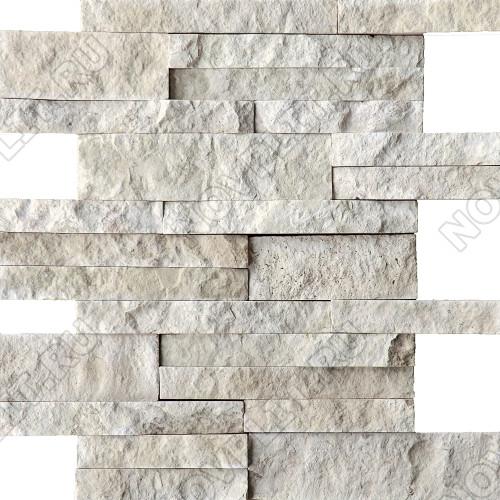 Раскладка «Полоска» доломит белый с бежевым - шуба, пиленый с 5 сторон