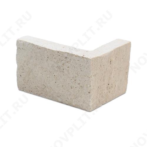 """Угловой камень """"Полоска"""" доломит белый с бежевым - 90хПогон мм, шуба, пиленый с 5 сторон"""