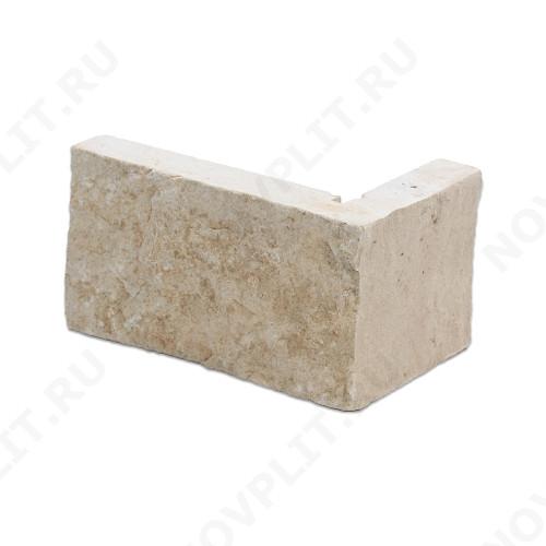 """Угловой камень """"Полоска"""" доломит бежевый - 90хПогон мм, шуба, пиленый с 5 сторон"""