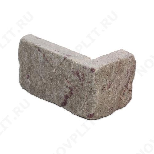 """Угловой камень """"Полоска"""" доломит бурый """"серо-малиновый"""" - 90хПогон мм, шуба, галтованный, пиленый с 5 сторон"""
