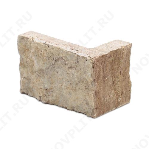 """Угловой камень """"Полоска"""" доломит кофейный - 90хПогон мм, шуба, пиленый с 5 сторон"""