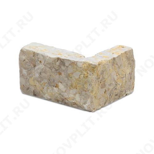 """Угловой камень """"Полоска"""" доломит серый с желтым - 30хПогон мм, шуба, пиленый с 5 сторон"""
