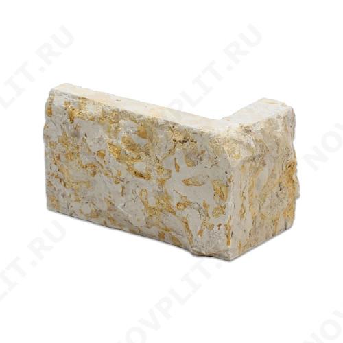 """Угловой камень """"Полоска"""" доломит серый с желтым - 90хПогон мм, шуба, пиленый с 5 сторон"""