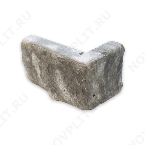 """Угловой камень """"Полоска"""" доломит серый - 90хПогон мм, шуба, галтованный, пиленый с 5 сторон"""
