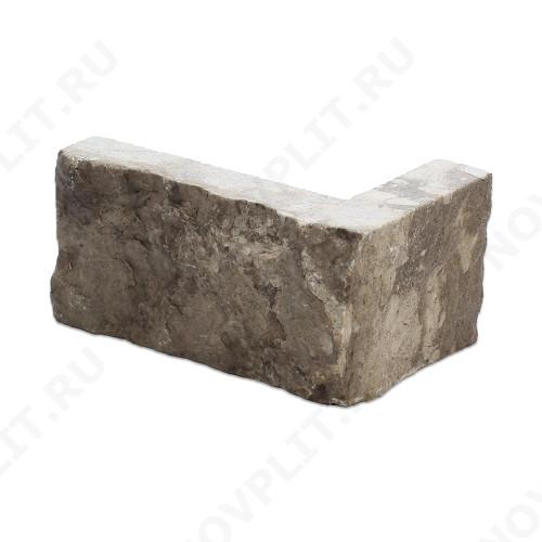 """Угловой камень """"Полоска"""" доломит серый - 90хПогон мм, шуба, пиленый с 5 сторон"""