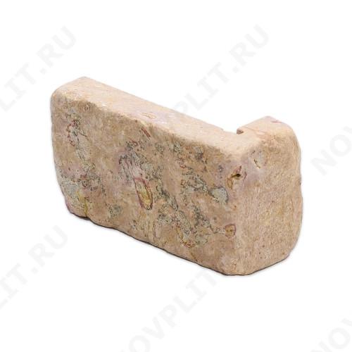 """Угловой камень """"Полоска"""" доломит желто-розовый """"персик"""" - 90хПогон мм, шуба, галтованный, пиленый с 5 сторон"""