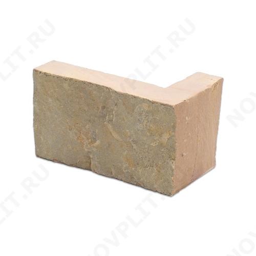 """Угловой камень """"Полоска"""" доломит желто-розовый """"персик"""" - 90хПогон мм, шуба, пиленый с 5 сторон"""