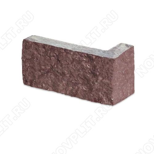 """Угловой камень """"Полоска"""" лемезит бордовый - 40хПогон мм, шуба, пиленый с 5 сторон"""