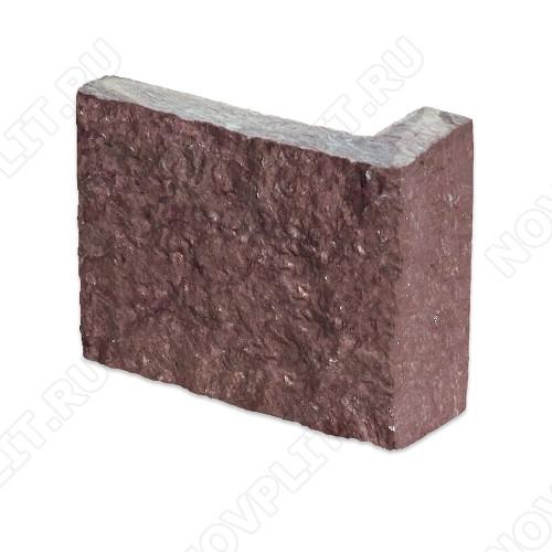 """Угловой камень """"Полоска"""" лемезит бордовый - 90хПогон мм, шуба, пиленый с 5 сторон"""