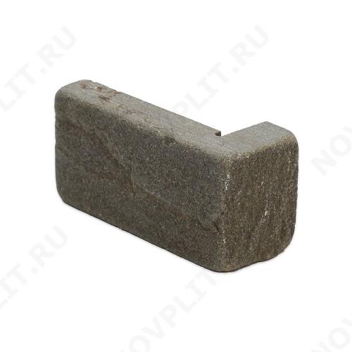 """Угловой камень """"Полоска"""" песчаник серо-зеленый - 90хПогон мм, шуба, галтованный, пиленый с 5 сторон"""