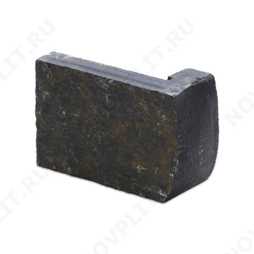 """Угловой камень """"Полоска"""" шунгит тёмно-серый (чёрный) - 90хПогон мм, шуба, пиленый с 5 сторон"""